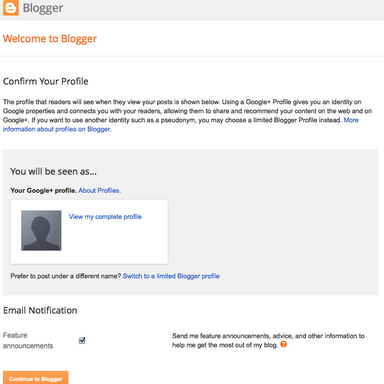 confirm account at Blogger.com